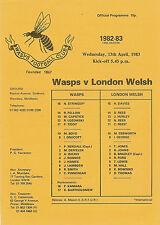 VESPE V London Welsh 13 APR 1983 RUGBY programma
