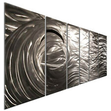 Abstract Brushed Metal Wall Art Silver Wave 3D Contemporary Home Decor