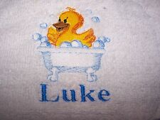 """PERSONALIZED EMBROIDERED BABY BOY DUCK WHITE  HOODED BATH TOWEL""100% COTTON"