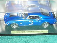 CROWN PREMIUM 1969 FORD MUSTANG BOSS 429 BLUE 1/24 w DISPLAY CASE