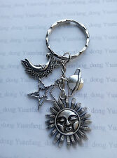A Silver Tone Happy Sun, Moon Star Planet Key Chain Handbag, Bag Charm