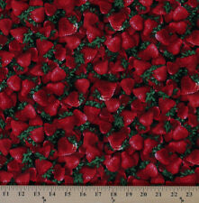 Cotton Red Strawberries Strawberry Fruits Cotton Fabric Print by Yard D688.41