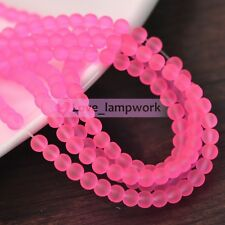 New 100Pcs 6mm Round Charms Clear Jelly Like Hot Pink Glass Loose Spacer Beads