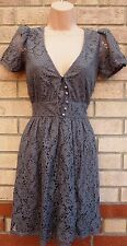 PRIMARK GREY FLORAL CROCHET LACE HALF BUTTONED SKATER FLIPPY TEA DRESS 8 S