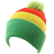Men's Winter 2ply Striped Thick Knit Pom Pom Beanie Skull Ski Hat Cap Rasta Flag