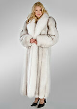 Natural Blue Fox Fur Coat with Natural White Fox Collar Length 52""