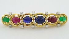 David Webb 18K / Platinum Cabochon Sapphire Ruby Emerald & Diamond Brooch / Pin