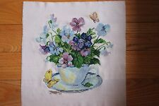 """Finished NEW Completed Cross Stitch """"MORNING FLOWERS"""""""