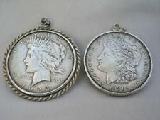 2 Superb American Silver Dollar Coins In Sterling Pendant Mounts 1921 & 1922.