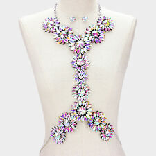LUXE Statement Couture AB Crystal Cocktail Necklace Body Chain By Rocks Boutique