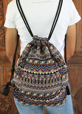 New Drawstring Backpack Boho Thai Sack Hill Tribe Cotton Sling Shoulder bag BG74