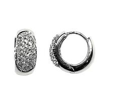 NEW DAINTY BABIES CHILDRENS PAVE CUBIC ZIRCONIA HOOP HUGGIE EARRINGS 14MM