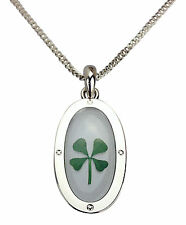 St. Patrick's Day Real Shamrock Four Leaf Clover Pendant Luck of the Irish