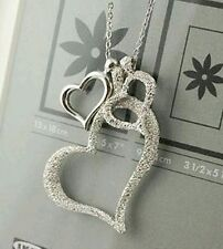 Unique Trendy Latest Fashion Designer love three heart sweater chain Necklace
