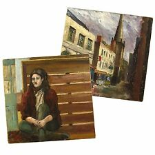 Retro Sixties Shop Fronts and Student Portrait Oil Painting HJ Fare Bristol 1963