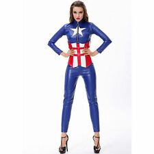 Donna Captain America Vestito Costume Supereroe Avengers Cosplay UK 8/10