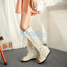 Women's Knee High Boots Open Toe Hollow Out Lace Up Sandal Mesh Wedge Heel Shoes