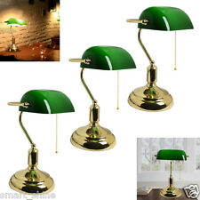 Vintage Bankers Lamp Office Desk Table SideLight Brass Green Glass Shade Working