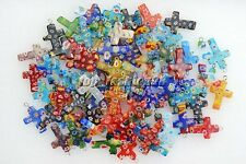 Wholesale Lot 20pcs Flower Millefiori Glass Cross Silver Plated Bead Pendant
