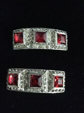 See Ruby Red And Rhinestone Vintage Shoe Clip Set