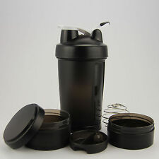 Three layers of Blender Mixer 17oz Cyclone Cup with Compartment Protein Shaker