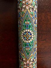 Old Russian Silver & Cloisonne Enamel Gold Gilded Single Cigar Tube