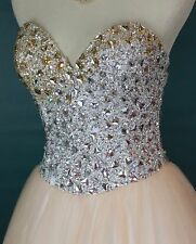 NWT TERANI $300 Long Solid Prom Formal Evening Gown Blush Size 6 Strapless Bead