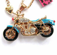 Betsey Johnson bright crystal blue enamel motorcycle pendant Necklace#589L,L