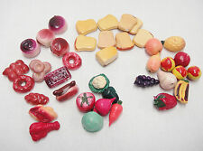 Dollhouse Miniature Plastic Food Assortment Lot of 39 Bread Meat Fruit Vegetable