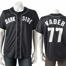 Large AUTHENTIC STAR WARS DARK SIDE VADER 77 Baseball Jersey shirt top Men's NWT