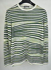 Missoni Green White Stripe Knit Pullover Crewneck Sweater 50 NWT Italy Mens