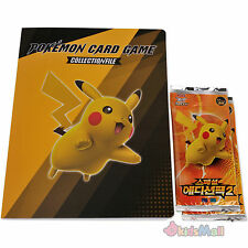 Pokemon Cards Pikachu Collectors Album Portfolio Binder Set+Booster Packs Korean
