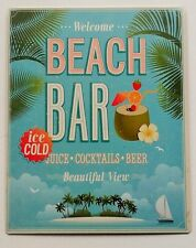 Vintage Retro Blue Seaside Welcome Beach Bar Metal Advert Plaque/Sign 25x20cm