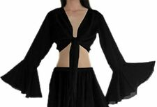 Women Designer Belly Dance Long Sleeves Tops Choli Bra Shirts Costume New Black