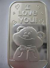 1-OZ  SILVER.999 ART BAR TO CUTE TEDDY BEAR I LOVE YOU VALENTINE'S DAY GIFT+GOLD