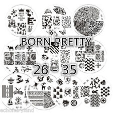 10Pcs BORN PRETTY 26-35 Nail Art Manicure Stamp Stencil Image Stamping Plate Kit