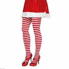 Candy Stripe Red & White Christmas santa Elf Tights Pantyhose Costume Accessory