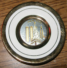 """Japanese Art Chokin 24K Gold Edged New York Plate Collectible 3"""" Twin Tower Libe"""