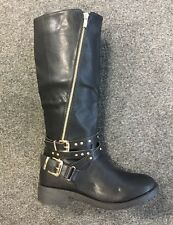 WOMENS LADIES BLACK HIGH CALF LEATHER STYLE COMFORT BIKER BOOTS LOW HEEL SIZE 3