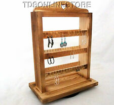 Rustic Oak Rotating Earring Storage/Display For Up To 174 Earrings