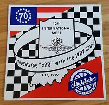 1976 Studebaker Drivers Club - Indy 500 - 12th International Meet Plaque