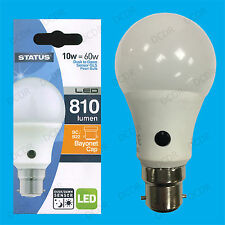 4x 10W = 60W LED GLS Dusk Till Dawn Sensor Security Night Light Bulb BC B22 Lamp