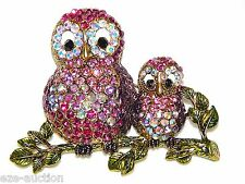 Cute owl mom & son Crystal Brooch perfect for moms day