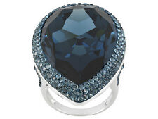 Blue Swarovski Crystal Rhodium Plated Sterling Silver Ring
