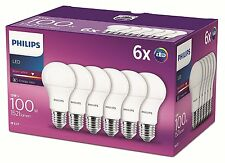 6 Pk Philips LED Frosted E27 Edison Screw 100w Warm White Light Bulb Lamp 1521lm