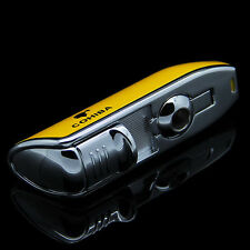 New COHIBA Yellow Metal 3 TORCH JET FLAME CIGAR Cigarette LIGHTER W/ PUNCH