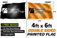 4'x6' Full Color Double Sided Custom Flag with Grommets