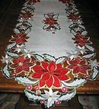 "Shimmery Red Poinsettias, Holly & Berries Christmas Decor Table Runner 66"" x 13"""
