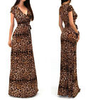 2015 Sexy Womens Boho Long Maxi Evening Party Dress Leopard Print Beach Dress