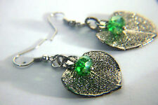 HOUSE OF RHYA GREEN QUARTZ  PLATINUM ELECTROPLATED EUCCALYPTUS LEAF EARRINGS